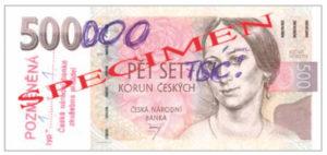 Рис. 1. Банкнота 500 чешских крон, переделанная в несуществующие 500 000 крон. Примитивная, легко определяемая подделка, которая выглядит как шутка. Фото предоставлено Национальным банком Чехии, Прага
