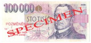Рис. 2. Более сложное усовершенствование банкноты. Эту подделку труднее определить на первый взгляд, особенно для человека, незнакомого с чешской валютой. Банкнота 1000 чешских крон, переделанная в несуществующие 100 000 крон. Фото предоставлено Национальным банком Чехии, Прага